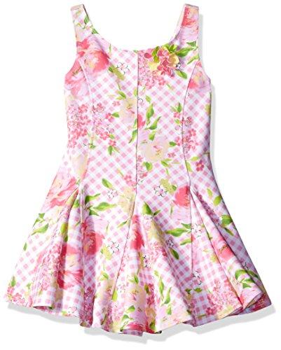 (Kate Mack Girls' Big Gingham Garland Scuba Dress, Pink)