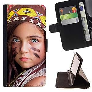 BullDog Case - FOR/Samsung Galaxy S3 Mini I8190Samsung Galaxy S3 Mini I8190 / - / little indian devochka /- Monedero de cuero de la PU Llevar cubierta de la caja con el ID Credit Card Slots Flip funda de cuer