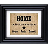 Home is where mom is sign-gift for mother's,gift from kids, personalised gift for Mom, Mother's day gift, Gift for Mum,Mother's day burlap print-2Q (Frame and Matte not included)