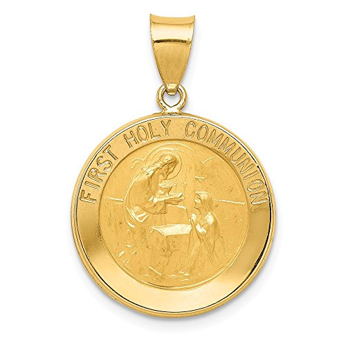 14k Yellow Gold First Holy Communion Medal Pendant Charm Necklace Religious Fine Jewelry Gifts For Women For Her