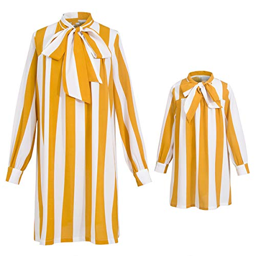 735b6b4b5 PopReal Mommy and Me Long Sleeve Stripes Self Tie Matching Shirt Dress