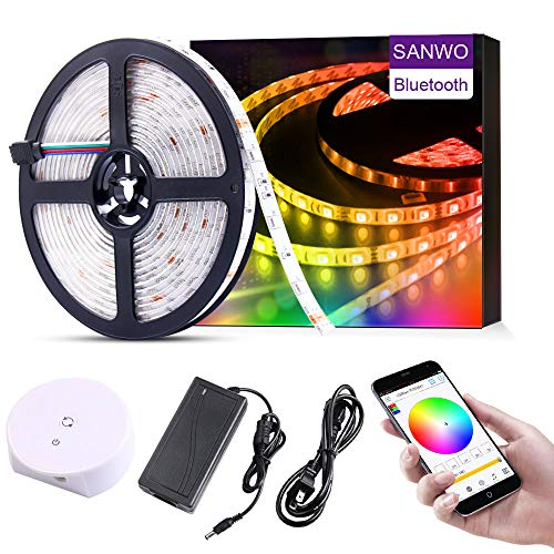 sanwo Led Strip Light, 16.4ft/5m RGB 150Leds SMD5050 App Rope Light with 12V Power Supply, Bluetooth Controller and String Light Fixing Clips, Color Changing Light Strip (16.4ft Smart Light Strip)