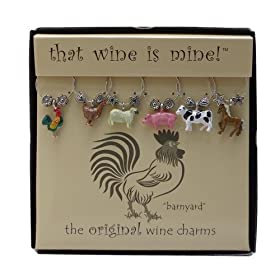 Wine Things WT-1439P Barnyard, Painted Wine Charms, Fits neatly around stem, Multi-Color