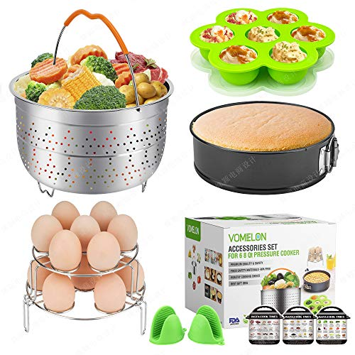 Cooking Accessories compatible with Instant Pot 6,8 Qt, 10-Piece Steamer Basket, Egg Bites Mold,7 Springfrom Pan,Egg Steamer Racks,Magnetic Cheat Sheets and Oven Mitts Bonus Recipes Ebook