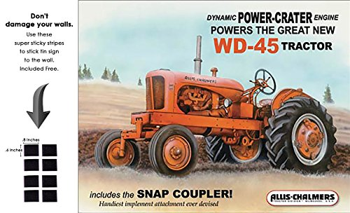 Shop72 - AGCO Corporation Allis Chalmers - WD 45 Tractor Tin Sign Retro Vintage Distrssed - with Sticky Stripes No Damage to Walls