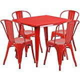 Flash Furniture 31.5'' Square Red Metal Indoor-Outdoor Table Set with 4 Stack Chairs