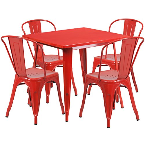 Flash Furniture 31.5'' Square Red Metal Indoor-Outdoor Table Set with 4 Stack Chairs ()