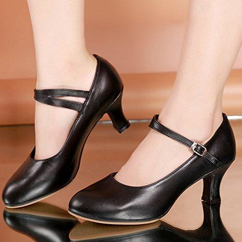 Womens Schuhe Tanzschuhe Leise Unten Tanzschuhe Schwarz Moderner Heels Mittleren Latin WYMNAME Dancing Z7TqfT