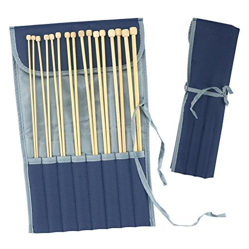 LAYOER Bamboo Knitting Needles Set 16 Pieces 14 inch Single
