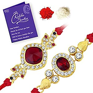 Sukkhi Modern Rakhi Combo (Set of 2) with Roli Chawal and Raksha Bandhan Greeting Card For Men (CB73465)