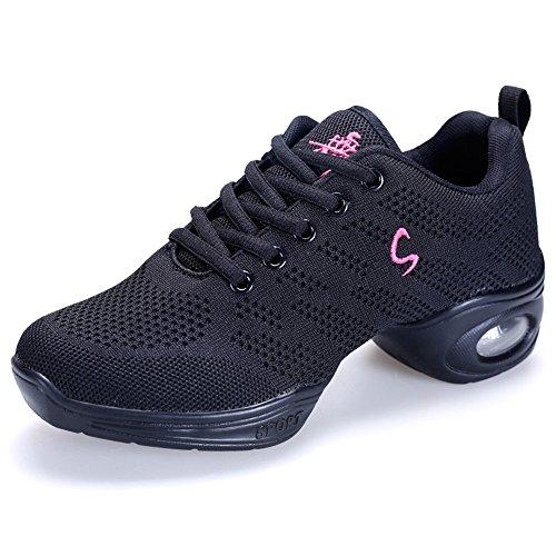 Yuanli Women's Mesh Ballroom Dance Shoes Flexible Lightweight Jazz Shoes Black 8.5 B(M) by Yuanli