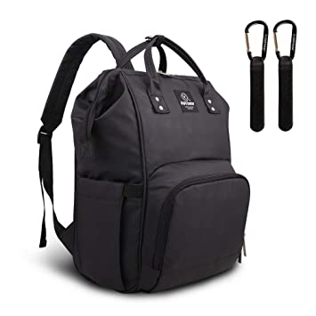 1ab64d9fd77ec Pipi Bear Changing Backpack Bag Waterproof Baby Changing Bag Cool Nappy  Backpack Organizer Large Capacity Diaper Tote Bag (Black): Amazon.co.uk:  Baby
