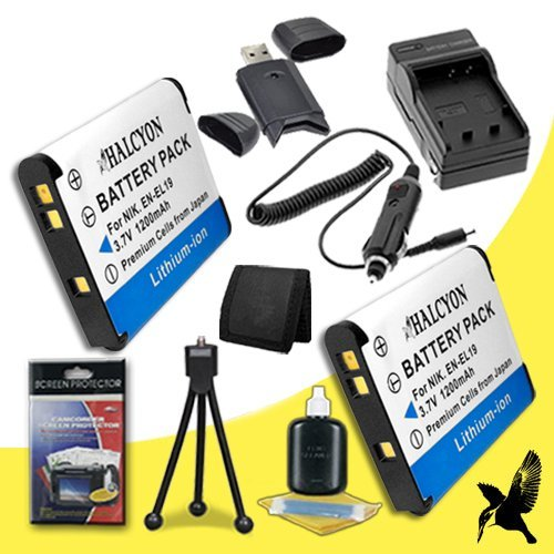 Two Halcyon 1200 mAH Lithium Ion Replacement EN-EL19 Battery and Charger Kit + Memory Card Wallet + SDHC Card USB Reader + Deluxe Starter Kit for Nikon Coolpix S100, COOLPIX S2600, COOLPIX S3100, COOLPIX S3300, COOLPIX S4100, COOLPIX S4300, Coolpix S6400, by Halcyon