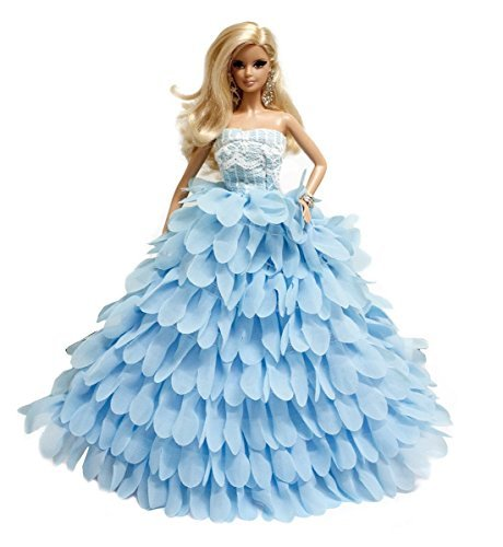 Sweetheart Chiffon Handmade Layered Ruffle Dress for Barbie Doll, Blue by Peregrine