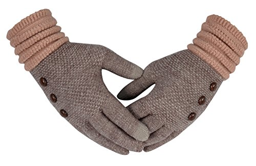Peach Couture Knit Warm Cozy Touch Screen Gloves With Showpiece Buttons