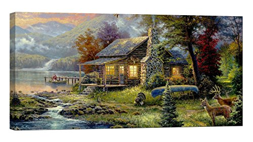 (LightFairy Glow in The Dark Canvas Painting - Stretched and Framed Giclee Wall Art Print - Like Oil Painting Cabin by The Lake - Master Bedroom Living Room Large Décor - 46 x 24 inch )