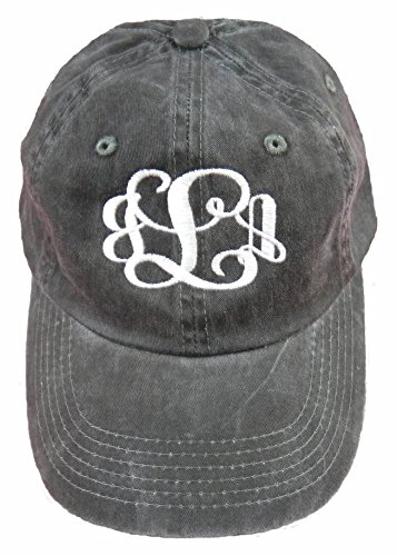 Ladies Garment Washed Black Hat with White Thread Monogramed Hat!