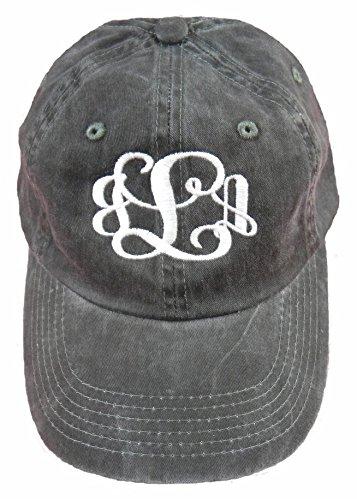 Ladies Garment Washed Black Hat with White Thread Monogramed Hat! (Hat Monogrammed)