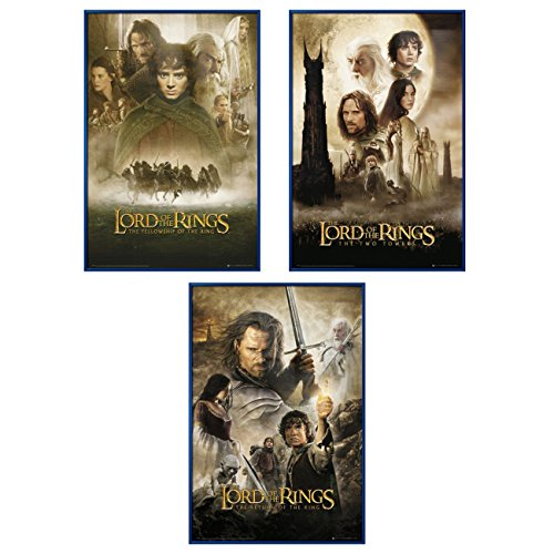 The Lord of The Rings 1, 2 & 3 - Framed 3 Piece Movie Poster