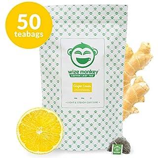 Wize Coffee Leaf Tea Bags, Ginger Lemon, Low Caffeine, 50 Tea Bags, Packaging May Vary