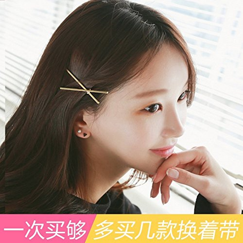 South Korean temperament simple geometry Europe rose gold metal wind exaggerated personality hairpin edge clip word folder for women girl (Tac Folder)