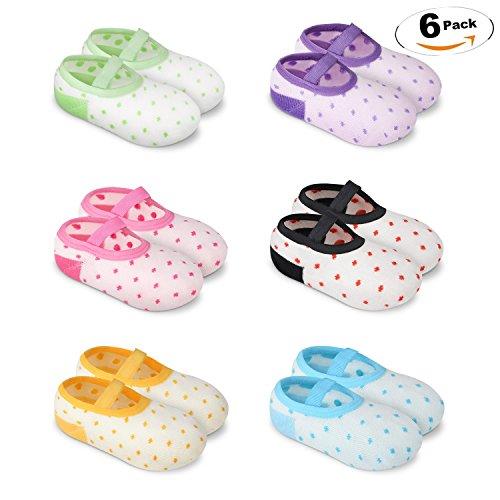 YOHOOLYO Baby Socks 6 Pairs Anti Skid Slip Socks Grip Socks for Toddlers 10-36 Months Toddler and Infants Girl
