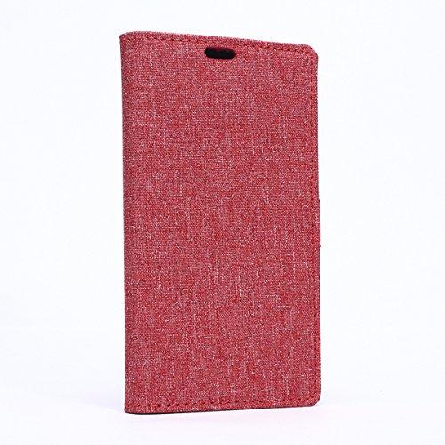Microsoft Lumia 640 XL Hülle,Lumia 640 XL Tasche,Nokia 640 XL Schutzhülle,Lumia 640 XL Hülle Case,Microsoft Lumia 640 XL Leder Cover,Cozy hut [Burlap - Muster-Mappen-Kasten] echten Premium Leinwand Flip Folio Denim Abdeckungs-Fall, Slim Case mit Ständer Funktion und Identifikation-Kreditkarte Slots für Microsoft Lumia 640 XL (5,7 Zoll) - Rote