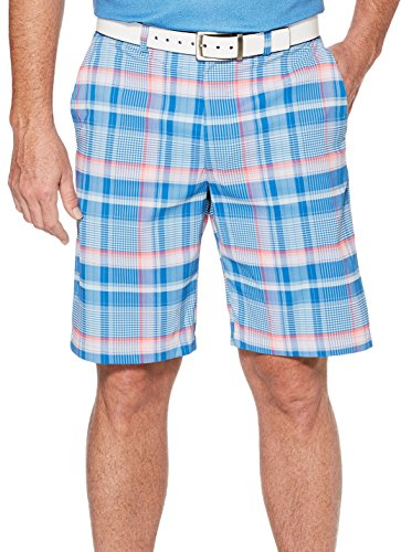 PGA TOUR Men's Active Waistband Madras Plaid Short, Classic Blue_PVBS80J1, (Madras Style Plaid Pants)