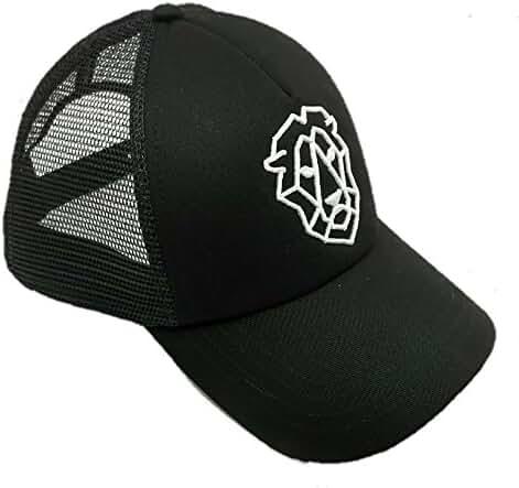 Black Mesh Back Bent Brim Lion Symbol Hat