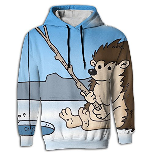 Mens 2018 Crazy Fishing hedgepig Hoodie 3d Design Hoodies (Chest Bachelor Natural)