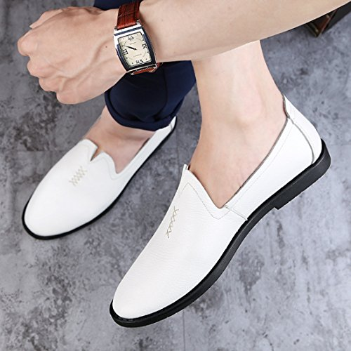 Minitoo Boys Mens Fanshaped Slip-On Leisure Casual Spring Loafers White