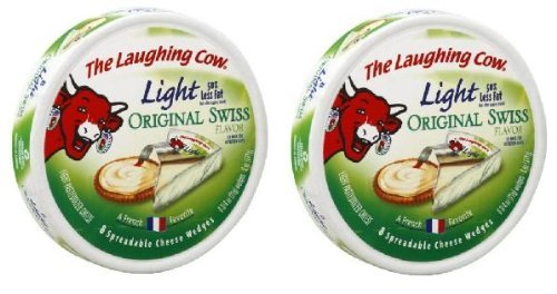 The Laughing Cow Spreadable Cheese Wedges: Light Creamy Swiss (Pack of 2) 8.75 oz Size