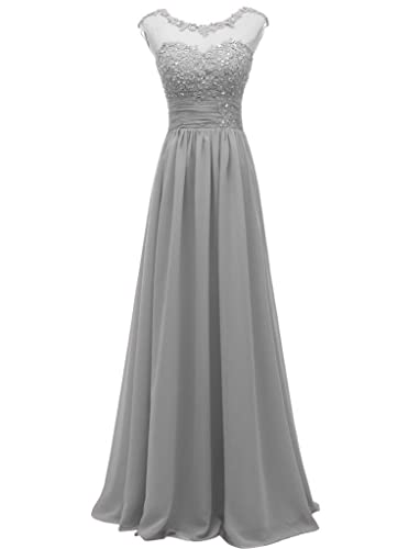 Pretygirl Women's Lace Long Prom Evening Dress Gown A Line Bridesmaid For Wedding