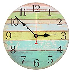 Decorative Wall Clock,RELIAN 12-Inch Beach Silent Wall Clock Non Ticking for Home Decor