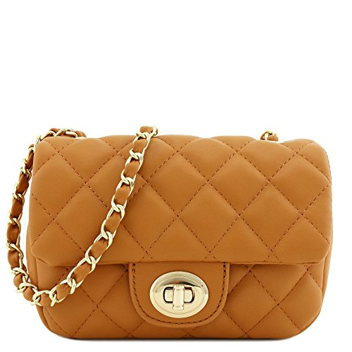 Tan Leather Womens Mini - Mini Classic Quilted Chain Shoulder Bag Tan