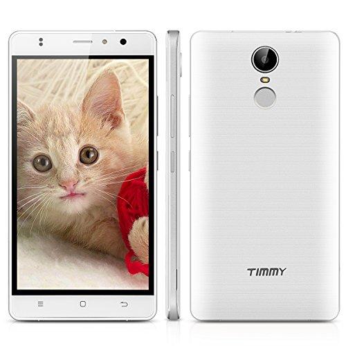 TIMMY M20 Pro 5.5 Zoll 4G-LTE-Smartphone ohne Vertrag Android 6.0 IPS Dual SIM Quad Core 1.3GHz Touch ID 16GB ROM Dual Kamera Handy 3000mAh Akku Smart Gestures Wifi GPS Weiß