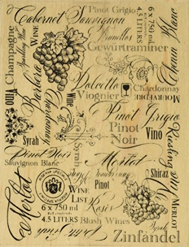 - STAMPENDOUS Wood Handle Stamp, Wine Labels Image