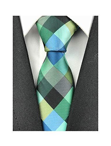 Elfeves Men Modern Tartan Formal Ties Checks Plaid Gingham Pattern Woven Necktie (One Size, Plaid 1)