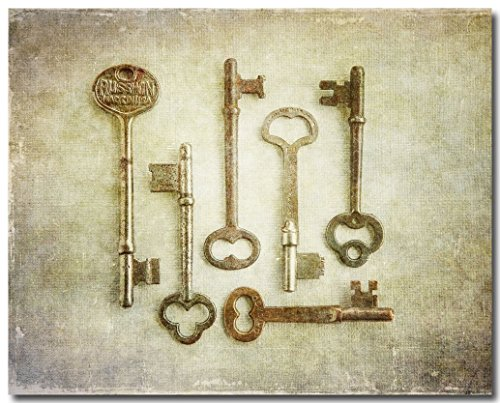 Rustic Foyer Art, Hallway Decor, Skeleton Keys Picture (Not Framed), Vintage Look Photograph, Gold, Yellow, Sepia, Beige. 8x10, 11x14 or 16x20.