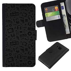 KLONGSHOP // Tirón de la caja Cartera de cuero con ranuras para tarjetas - Patrón Música Gris Auriculares Dj - HTC One M9 //