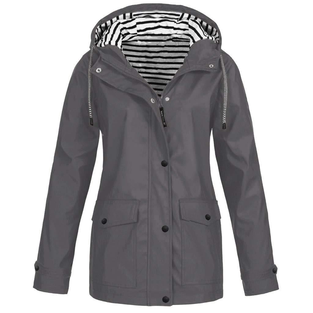 Shusuen Women's Waterproof Raincoat Hooded Rain Jacket Windbreaker Outdoor Trench Coats by Shusuen_Clothes