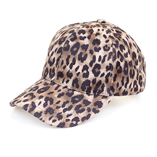 Hatsandscarf C.C Faux Suede Leopard Print Fabric Ponytail Baseball Cap (BT-52) (Brown)