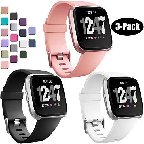 Wepro Bands Compatible with Fitbit Versa SmartWatch, Versa Lite SE Sports Watch Replacement Band for Women Men Kids, Small, 3 Pack, Black, White, Peach