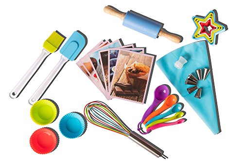 Riki's Kingdom Kids real cooking baking set with recipes 38-Piece/Cupcake molds/decorating kit,Cookie Cutters,Measuring Spoons,whisk,Rolling Pin,Spatula,Gift Giving Box, FDA Food ()