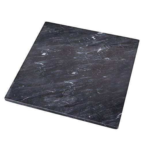 """Creative Home 74752 Natural Stone Black Marble 12"""" x 12"""" Cheese Board, Serving Plater"""