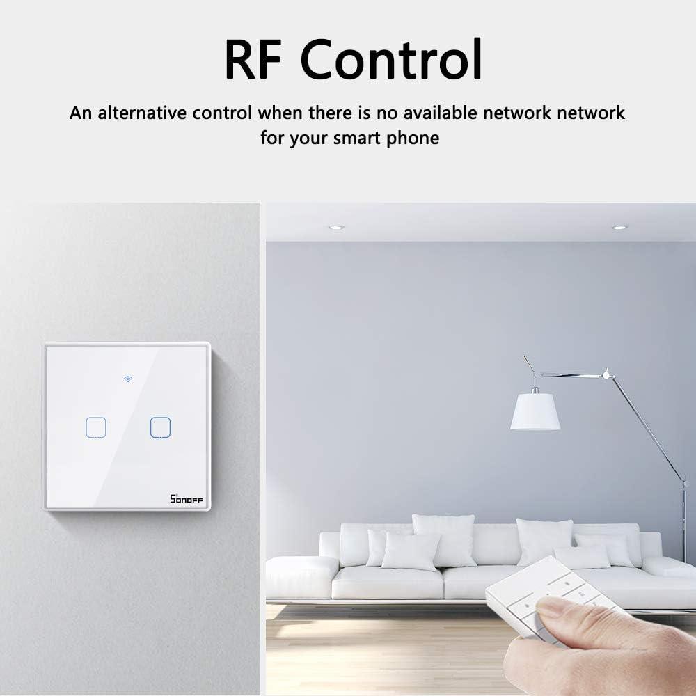Soporte Control de 433Mhz RF//Control Remoto de App//Control T/áctil SONOFF 1CH Interruptor T/áctil de Pared Inteligente Temporizaci/ón Interruptor de Pared WiFi Compatible con Google Home//Nest//Alexa