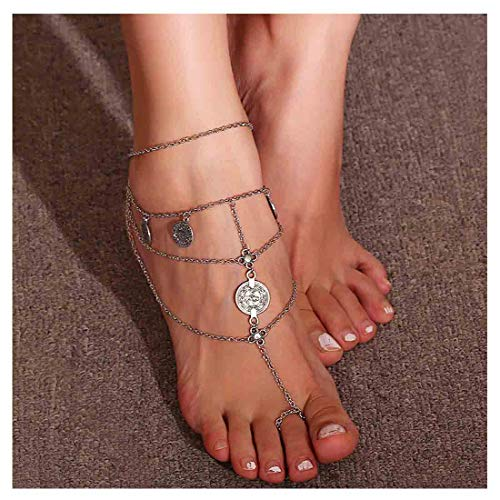 (Olbye Hippie Sandals Toe Ring Anklet Silver Coin Barefoot Sandal Beach Anklet Ethnic Foot Chain Jewelry)