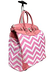 ALFA TRAVELGEAR INC Princess Pink Chevron Rolling Carry-on Tote Bag
