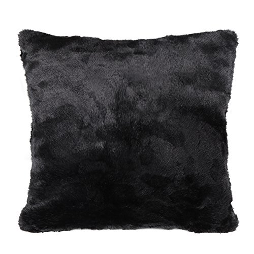 OJIA Best Soft Sheepskin Faux Fur Decorative Cushion Throw One Pillow Cover Case 18x18 Inch Black Sheepskin Square Pillow