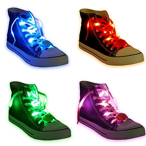 Led Light Shoelaces (Acmee 6 Pair LED Shoelaces - High Visibility Soft Nylon Light Up Shoelace with 3 Modes in 6 Colors for Night Safety Running Biking, Or Cool Disco Party, Cosplay, Hip-hop)